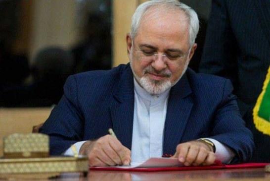 """"""" ظریف """" : بیانیه مشترک تاریخی دیشب ایران و عراق تعهد بر اجرای عهد نامه 1975 و … ، را شامل می شود ."""