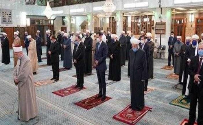 حضور رئیس جمهور سوریه در مراسم میلاد نبی اکرم(ص) در مسجد جامع دمشق
